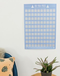 Скретч-постер со списком из 100 поз йоги Gift Republic - Мульти