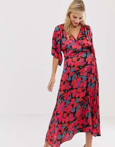 Платье макси с запахом, поясом и принтом роз Liquorish - Мульти