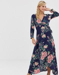 Платье макси с цветочным принтом, разрезами и запахом Liquorish - Мульти