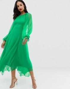 Платье макси с разрезами на длинных рукавах и открытой спиной ASOS DESIGN - Зеленый