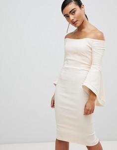 Платье миди с широким вырезом и контрастной отделкой Vesper - Розовый