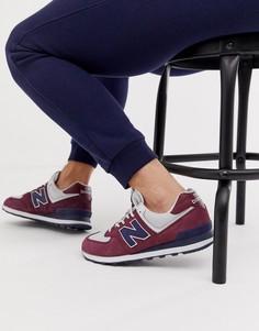 Бордовые кроссовки New Balance 574 - Красный