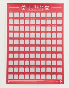 Скретч-постер со списком из 100 свиданий Gift Republic - Мульти