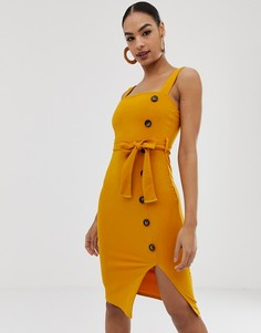 Платье миди с пуговицами In The Style - Желтый