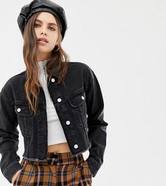 Короткая джинсовая куртка с необработанным краем Reclaimed Vintage inspired - Черный