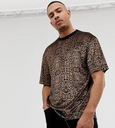 Бархатная футболка со змеиным принтом COLLUSION Tall - Коричневый
