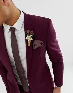 Коричневый фактурный галстук и платок для нагрудного кармана ASOS DESIGN - Коричневый