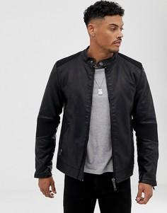 Черная байкерская куртка из искусственной кожи без воротника Blend - Черный
