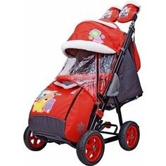 Санки-коляска GALAXY SNOW GALAXY City-2 Мишка со звездой на красном на больших колёсах (7080)