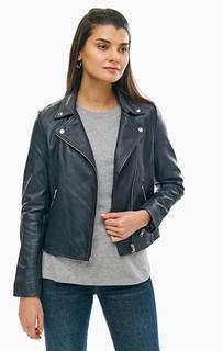 Темно-синяя кожаная куртка с косой молнией Selected