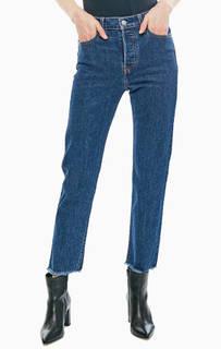 Синие джинсы с необработанным краем Wedgie Straight Levis