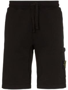 Stone Island black logo patch cotton track shorts