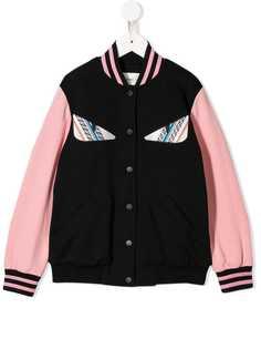Fendi Kids куртка-бомбер с вышивкой