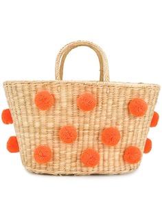 Nannacay плетеная сумка с помпонами