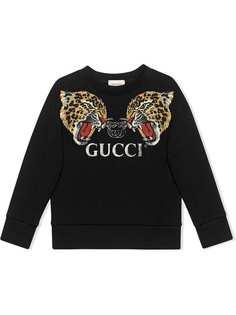 Gucci Kids толстовка с леопардами