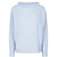 Блузка однотонная с круглым вырезом и длинными рукавами Numph
