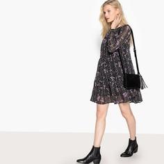 Платье объемное с круглым вырезом, цветочным принтом и длинными рукавами SEE U Soon
