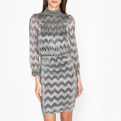 Платье короткое прямое с графическим рисунком и длинными рукавами Ba&;Sh