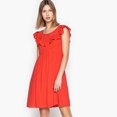 Платье короткое расклешенное однотонное, с воланами SEE U Soon
