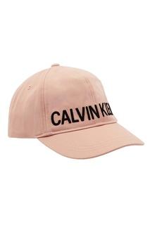 Розовая кепка с логотипом Calvin Klein Kids