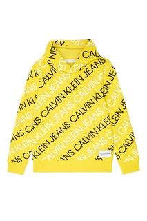 Желтое худи с логотипом Calvin Klein Kids