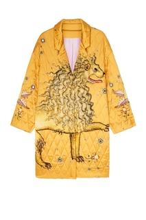 Желтое стеганое пальто с рисунком Alena Akhmadullina