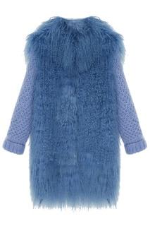 Вязаное пальто с мехом Korta