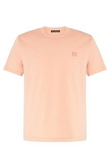 Хлопковая футболка абрикосового цвета Acne Studios