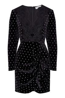 Черное бархатное платье с кристаллами Self Portrait