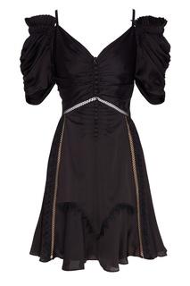 Черное платье с объемными рукавами Self Portrait