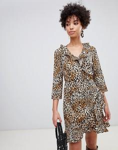 Платье с запахом и леопардовым принтом Vero Moda - Черный