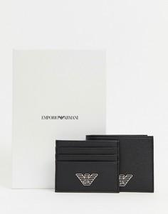 Подарочный набор из бумажника и кошелька для карт черного цвета с логотипом Emporio Armani - Черный