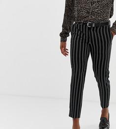 Облегающие укороченные брюки в строгом стиле в черно-белую полоску Heart & Dagger - Черный
