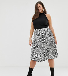 Плиссированная юбка миди со звериным принтом Missguided Plus - Мульти