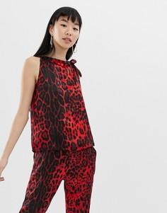 Топ на плечо с леопардовым принтом b.Young - Мульти