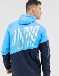 Синяя спортивная ветровка в стиле колор блок Puma - Синий
