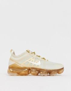 Белые кроссовки с золотистой отделкой Nike Running Vapormax 19 - Белый
