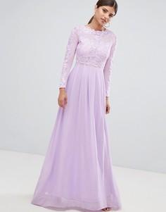 Платье макси с кружевным топом и длинными рукавами AX Paris - Фиолетовый