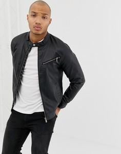 Черная куртка из искусственной кожи с молнией Blend - Черный