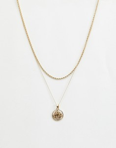 Золотистое ожерелье в два ряда с подвеской Chained & Able - Золотой