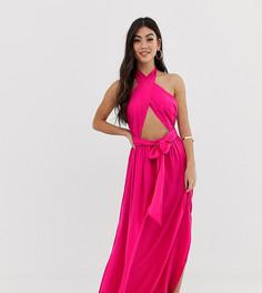 Розовое платье макси с разрезом ASOS DESIGN Petite - Розовый