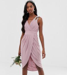 Эксклюзивное розовое платье миди для подружки невесты с запахом TFNC Tall - Розовый