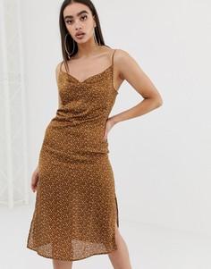 Коричневое атласное платье в горошек Missguided - Мульти