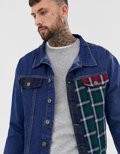 Синяя джинсовая куртка в стиле пэтчворк Liquor N Poker - Синий