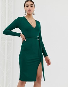 Платье миди с глубоким вырезом In The Style Billie Faiers - Зеленый