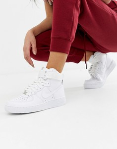Белые высокие кроссовки Nike Air Force 1 - Белый