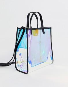 Белая сумка-шоппер с голографической отделкой Bershka - Белый