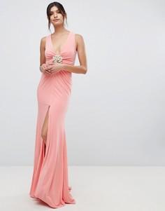 Платье макси с глубоким вырезом и декоративной отделкой Forever Unique - Розовый