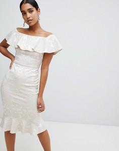 Платье миди со спущенными плечами и принтом пейсли Vesper - Кремовый