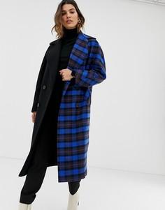 Легкое пальто в контрастную клетку Helene Berman - Синий
